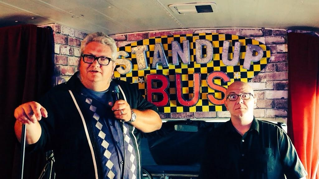 Dusty Trice and Mike Frankovitch on the Stand Up Bus